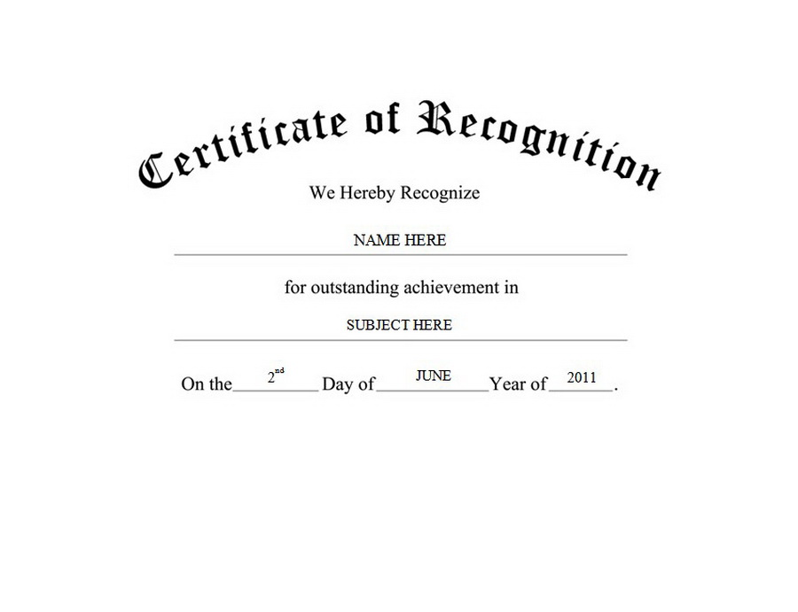 Certificate Of Recognition Free Templates Clip Art Wording
