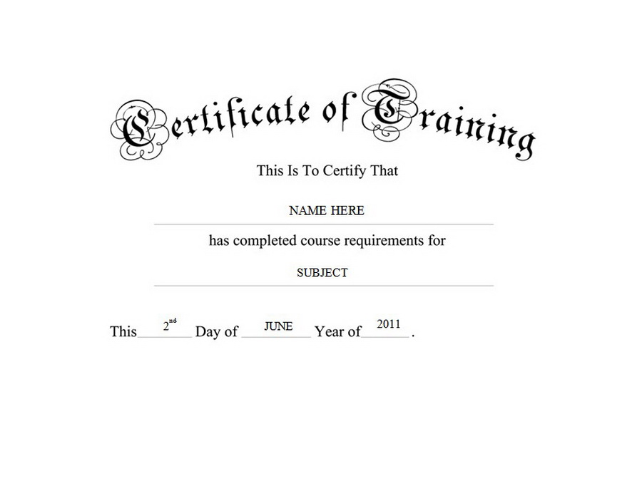 Certificate of training free templates clip art wording for Training certificate template free
