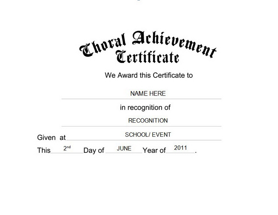 Choral Achievement Certificate Free Templates Clip Art Wording
