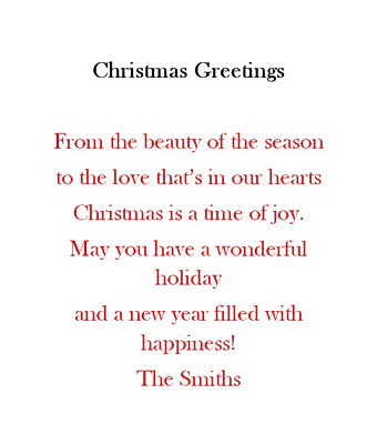Christmas free suggested wording by holiday geographics christmas wording by holiday m4hsunfo Gallery