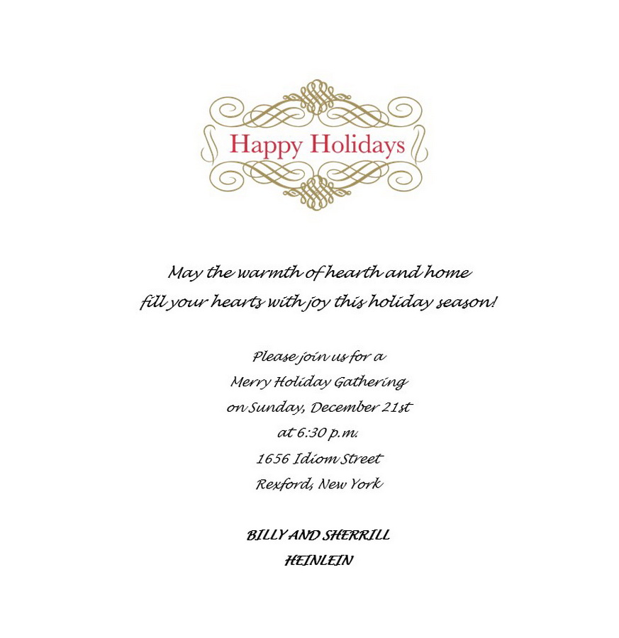 Christmas Party Invitation 6 Wording   Free Geographics Word Templates