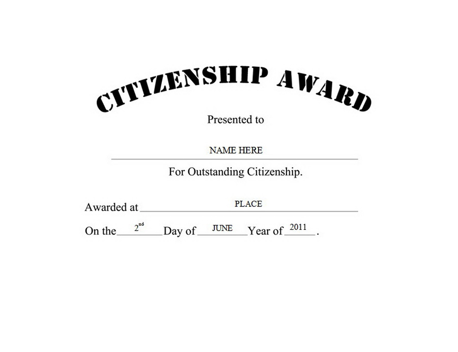 Citizenship Award Free Templates Clip Art Wording Geographics