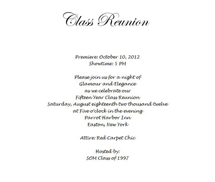 Class Reunion Invitation 3 Wording | Free Geographics Word Templates