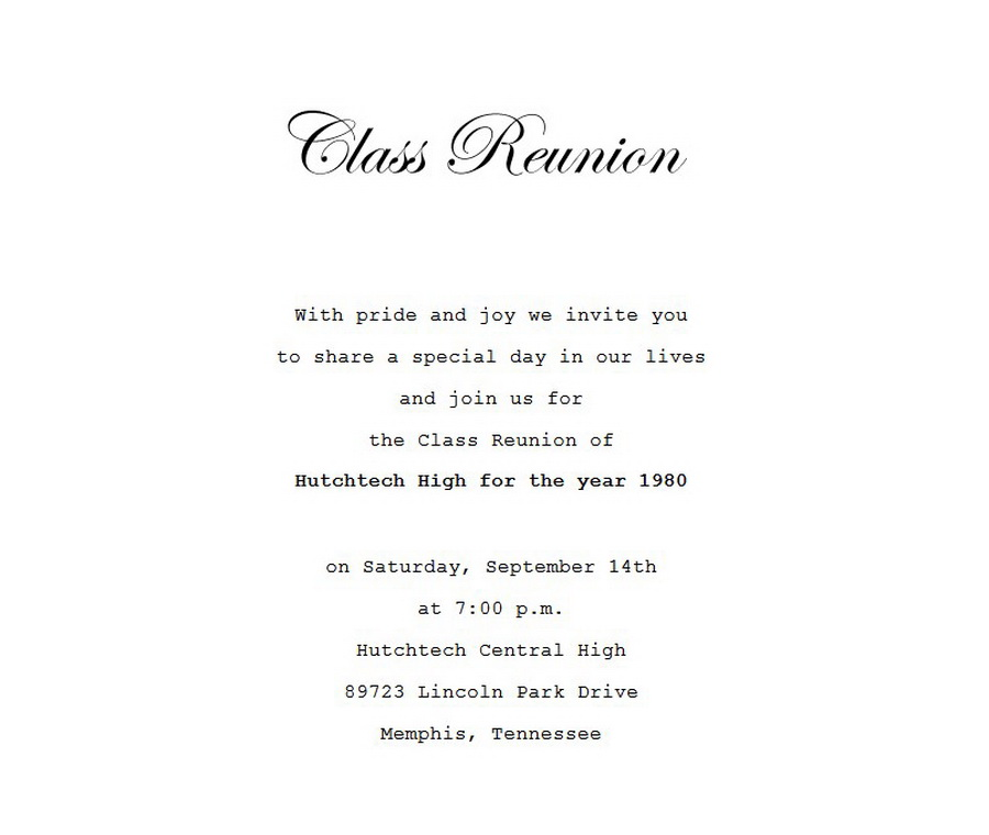 Class reunion invitation 4 wording free geographics word for Class reunion program template
