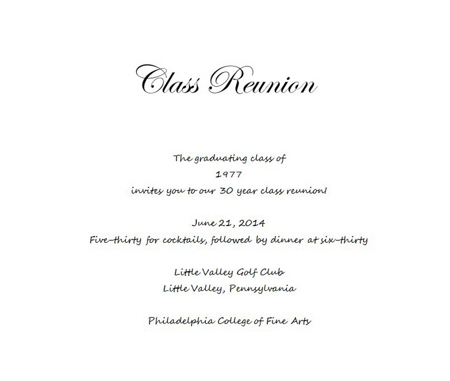 Sample Family Reunion Invitation Letter High School Reunion Wording