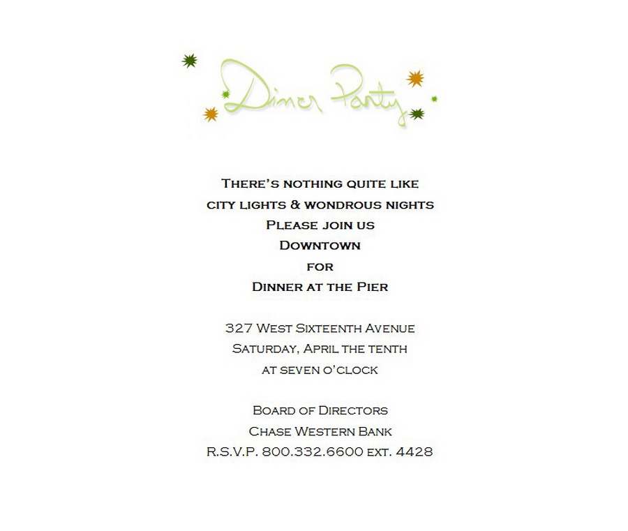 Dinner Party Invitation 2 Wording