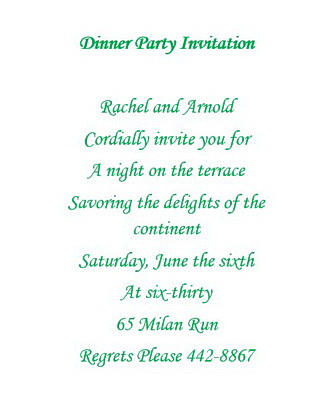 Dinner Party Invitations Wording Free Geographics Word Templates