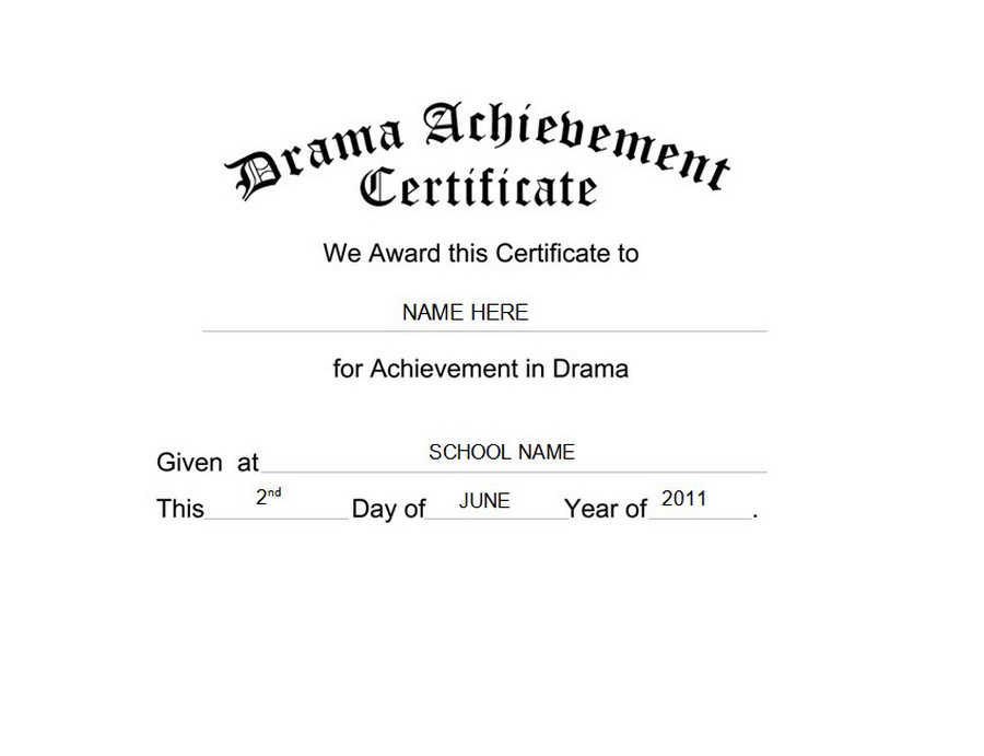 Drama Achievement Certificate Clip Art U0026 Wording  Certificates Of Achievement Free Templates