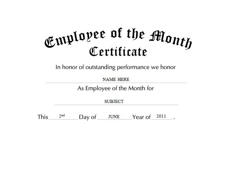 employee of the month certificate clip art wording - Certificate Of Employee Of The Month Template