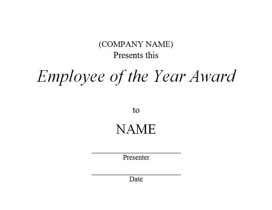 Employee Of The Year Award 3 Free Word Templates Customizable Wording