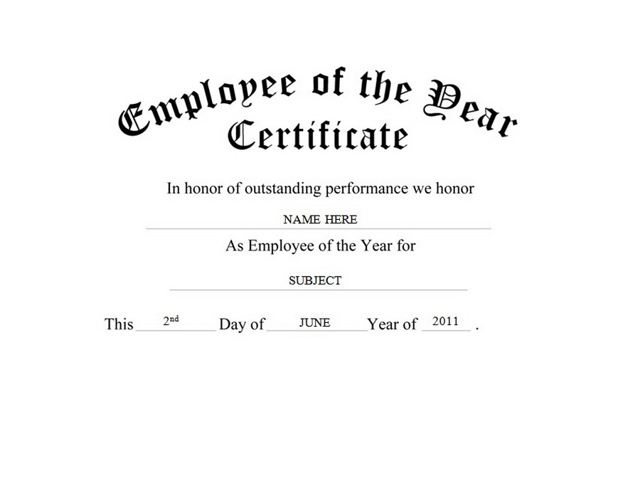 employee of the year certificate free templates clip art wording - Employee Of The Year Certificate Free Template