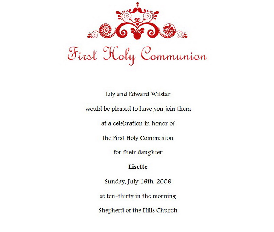 first communion invitations wording 1