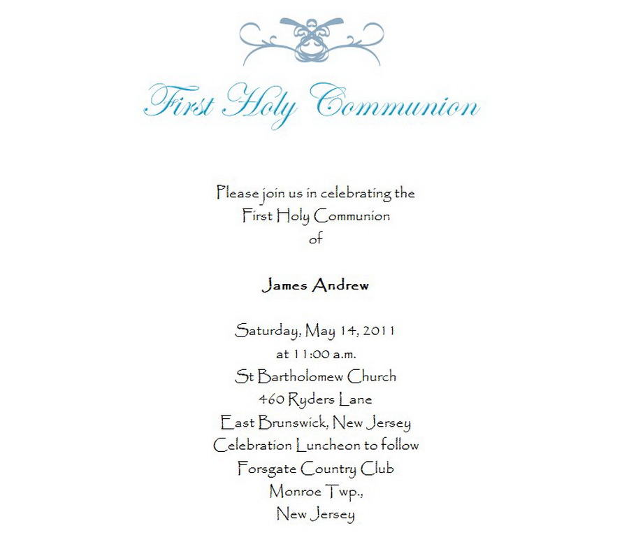 First Communion Invitations 3 Wording