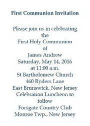 First communion free suggested wording by theme geographics first communion invitations wording stopboris Choice Image