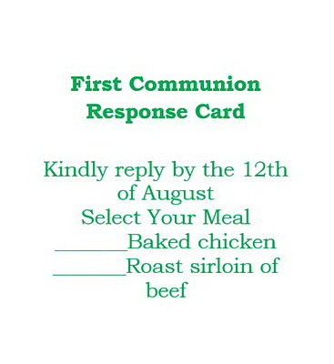 first communion response cards wording