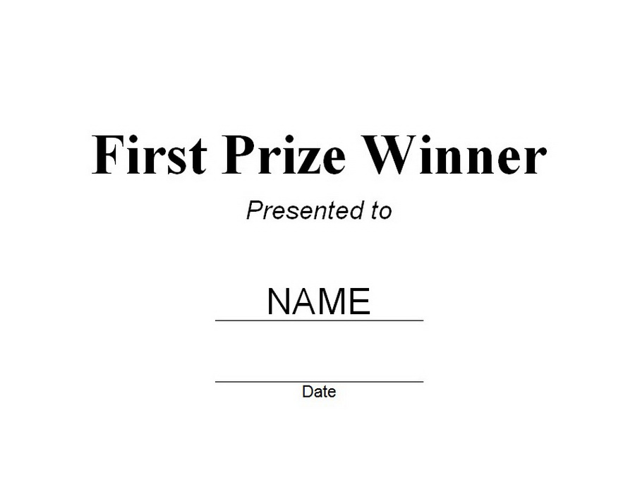 First Prize Winner Certificate Free Word Templates Customizable