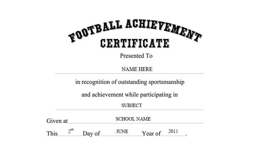 Football Achievement Certificate Clip Art U0026 Wording  Certificates Of Achievement Free Templates