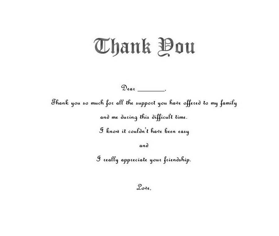 thank you notes funerals