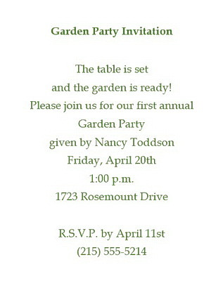 Party free suggested wording by theme geographics garden party invitations wording stopboris Image collections