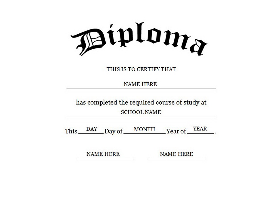 Revered image intended for printable diploma template