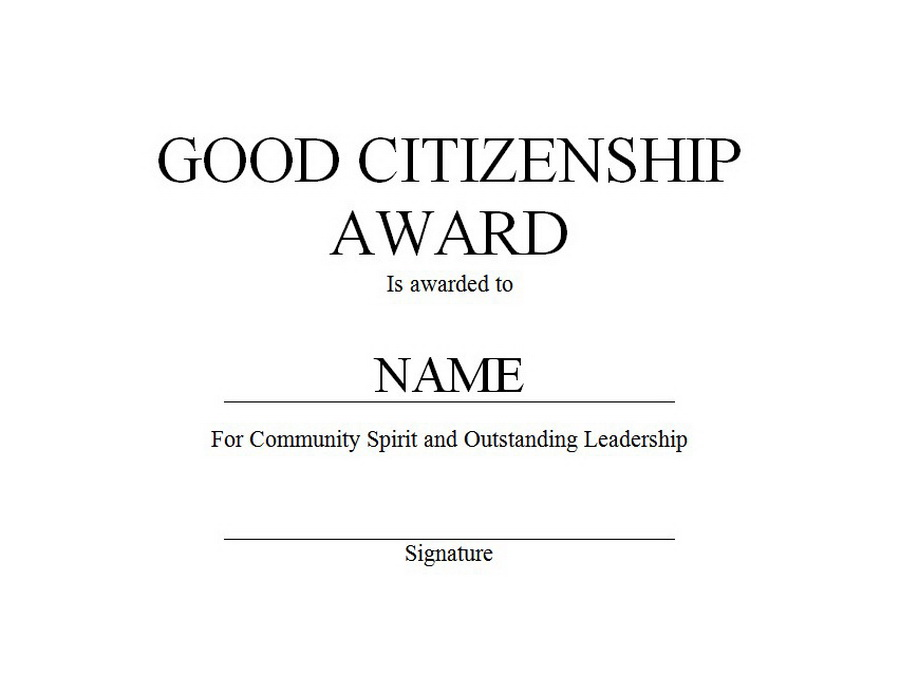 Citizenship Award Certificate Template Free Printable Worksheet