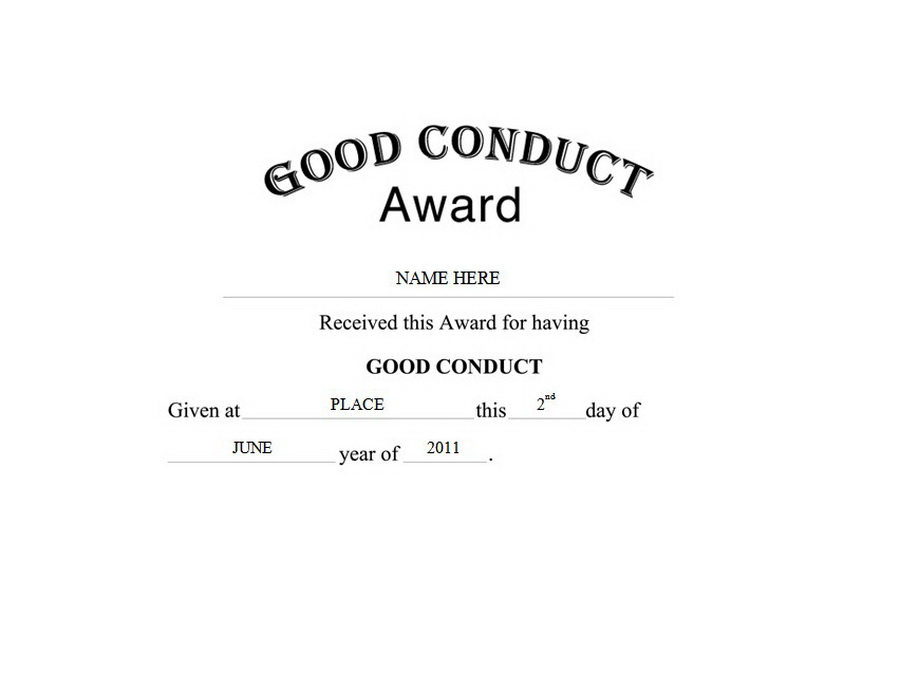 Good Conduct Award Free Templates Clip Art & Wording | Geographics