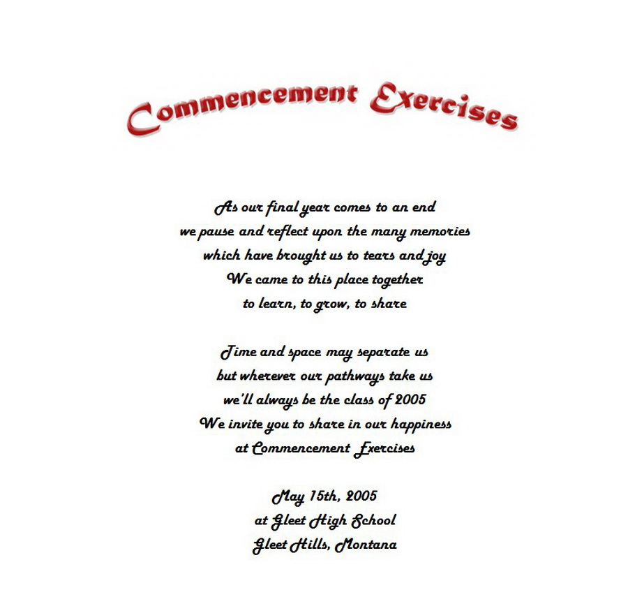 Graduation Announcements Commencement Exercises 2 Wording Free