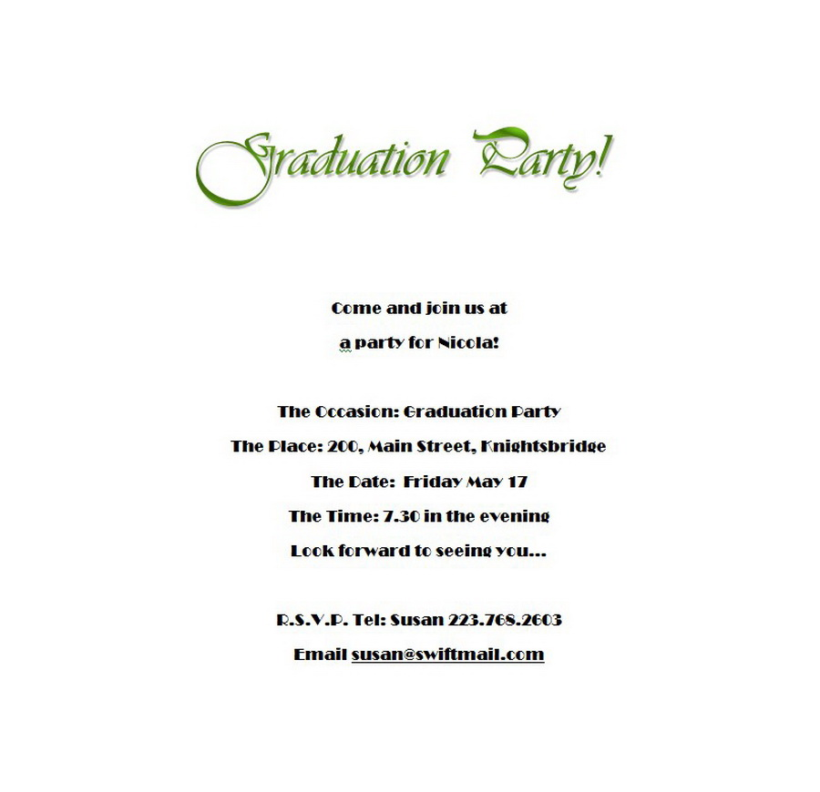 Graduation party invitations 5 wording free geographics word templates for Www geographics com templates