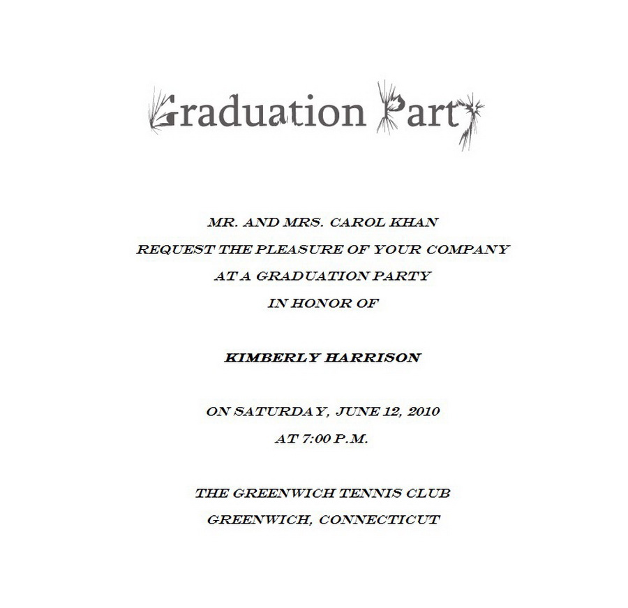 Graduation Free Suggested Wording by Theme – Black and White Party Invitation Wording