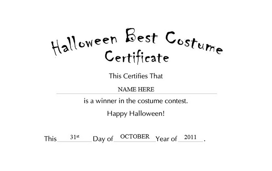 Halloween Best Costume Certificate Free Templates Clip Art Wording