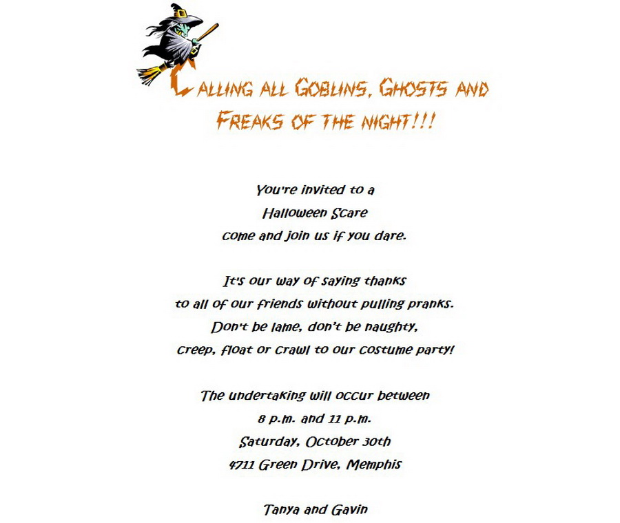 Halloween Costume Party Invitations 4 Wording | Free Geographics ...