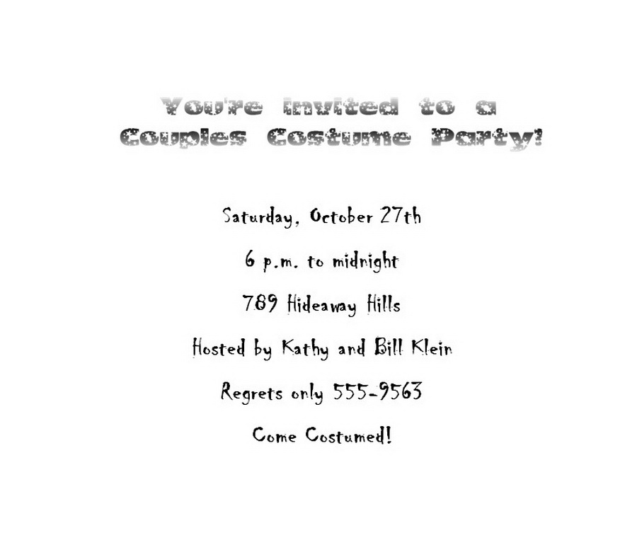 Halloween Costume Party Invitations 6 Wording | Free Geographics ...