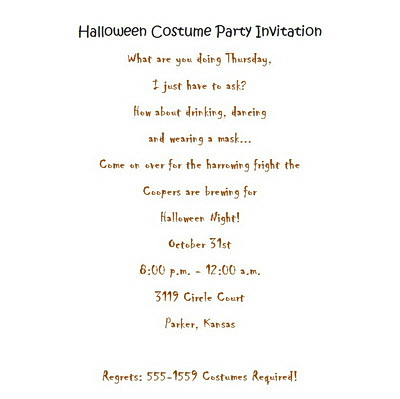 halloween costume party invitations wording free geographics word