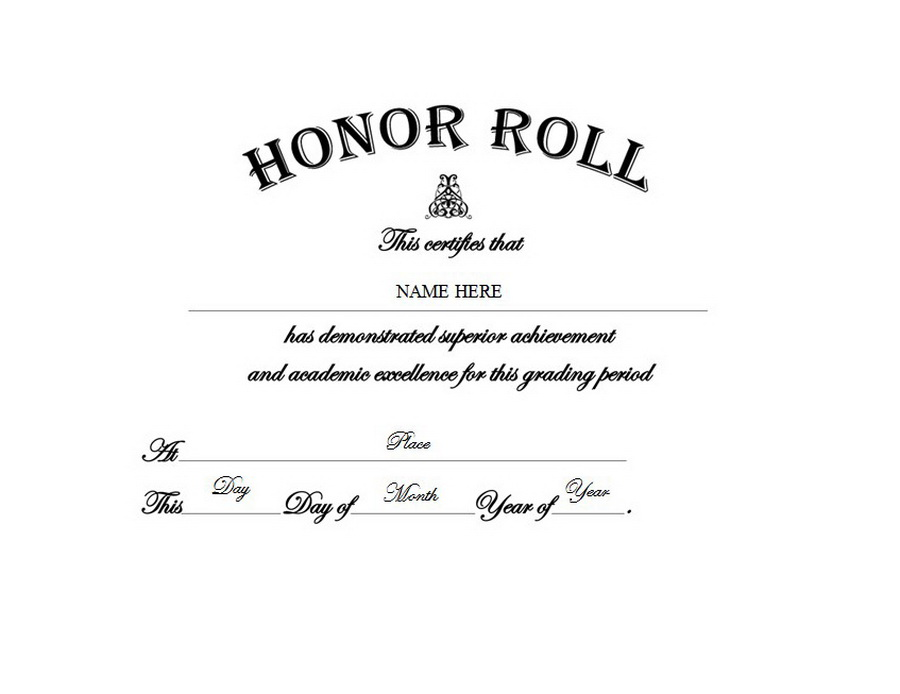 a honor roll certificates printable