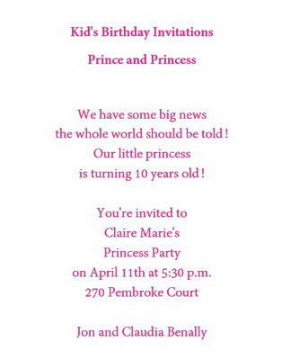 Birthday free suggested wording by theme geographics 2 kids birthday invitations prince and princess wording stopboris Images