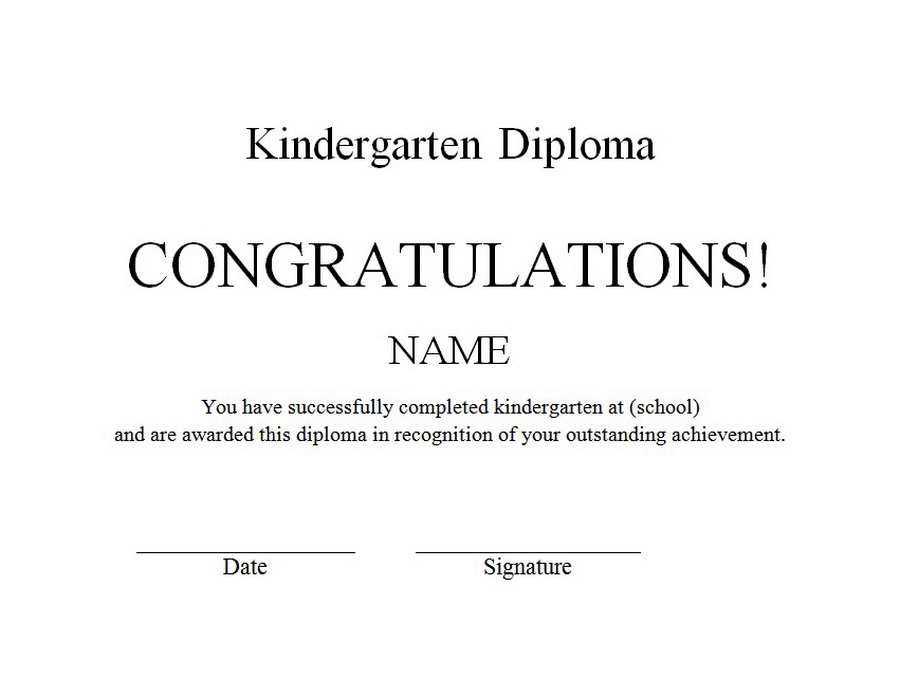 kindergarten diploma free word templates customizable wording