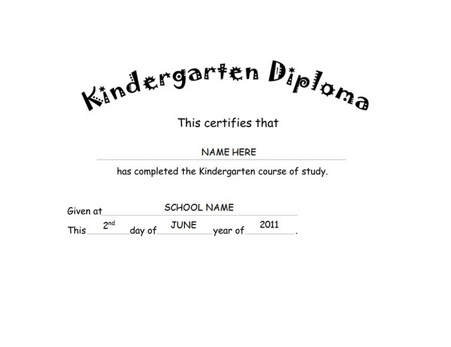 kindergarten graduation certificate wording