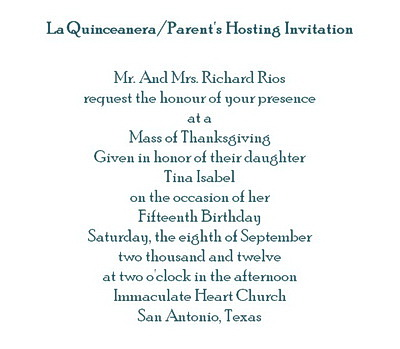 La quinceanera free suggested wording by theme geographics la quinceanera parents hosting invitations wording stopboris Choice Image