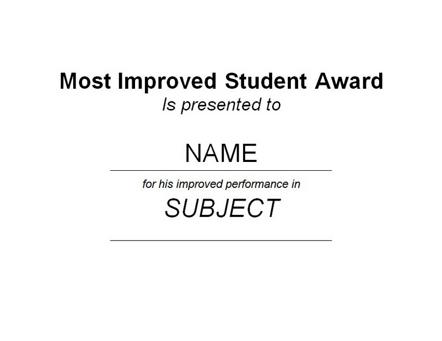 most improved student