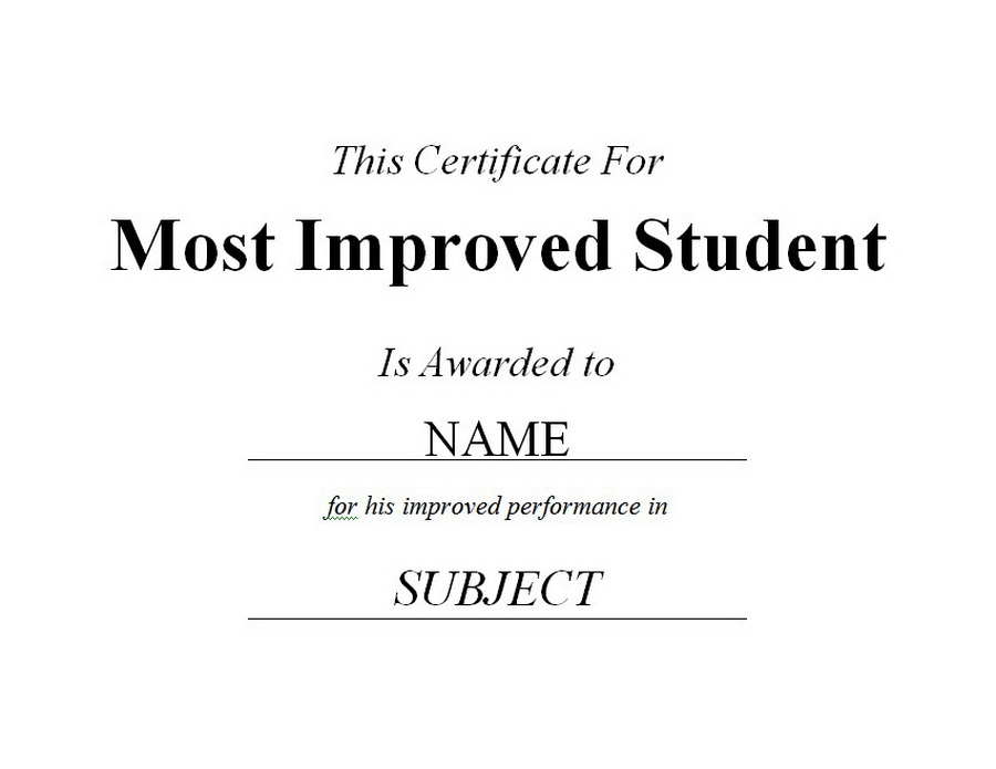 Most Improved Student Certificate Clip Art 2 U0026 Wording