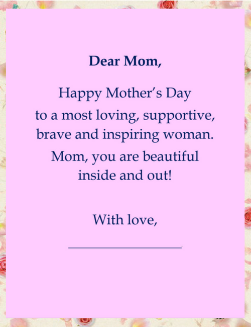 mothers day cards own mother wording 2 free geographics word
