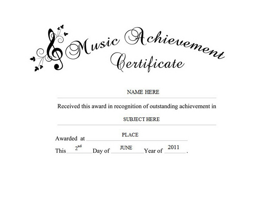 Music Achievement Certificate Clip Art U0026 Wording  Certificate Of Achievement Word Template