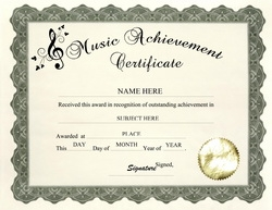 Music Achievement Certificate Clip Art U0026 Wording  Free Achievement Certificates