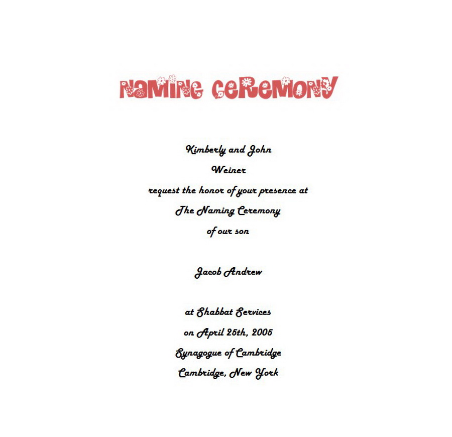 Naming Ceremony Invitations 4 Wording | Free Geographics Word Templates