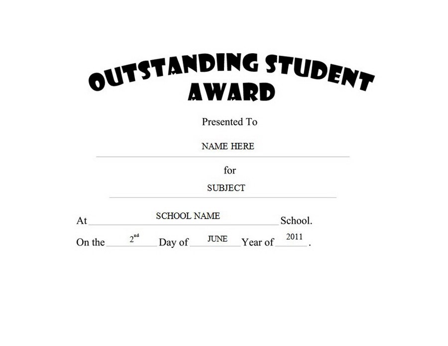 Outstanding Student Award Clip Art Wording