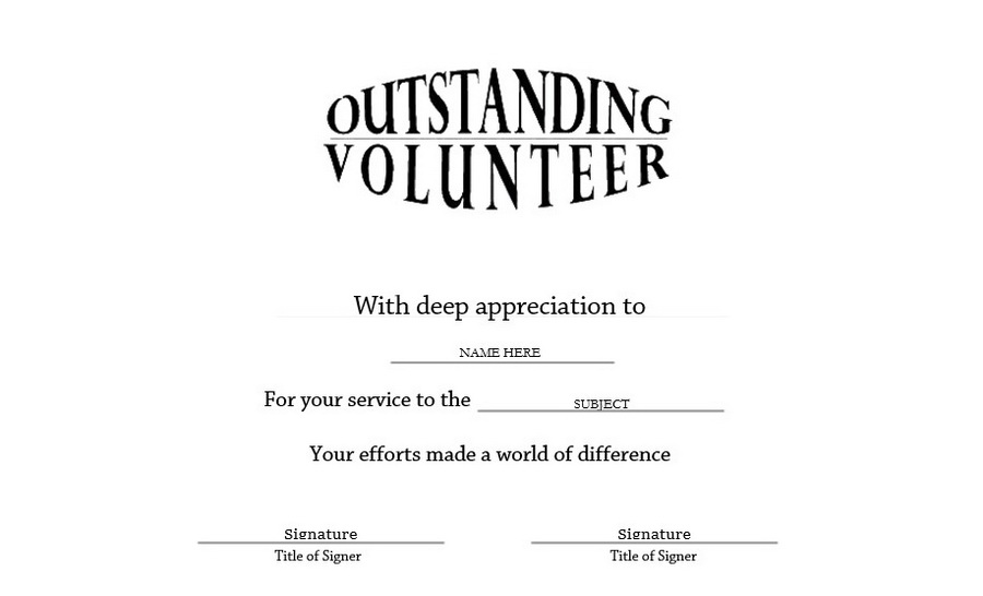 Outstanding Volunteer Certificate Landscape Clip Art U0026 Wording