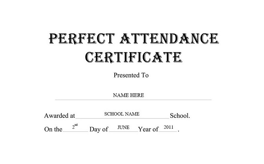 Perfect Attendance Certificate Clip Art U0026 Wording  Attendance Certificates Free Templates