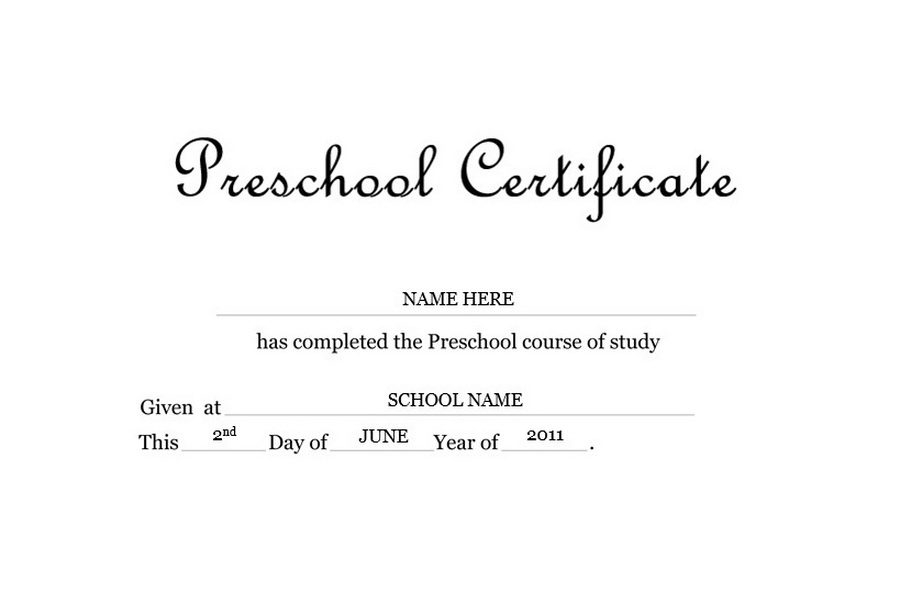 Preschool Certificate Free Templates Clip Art Wording Geographics