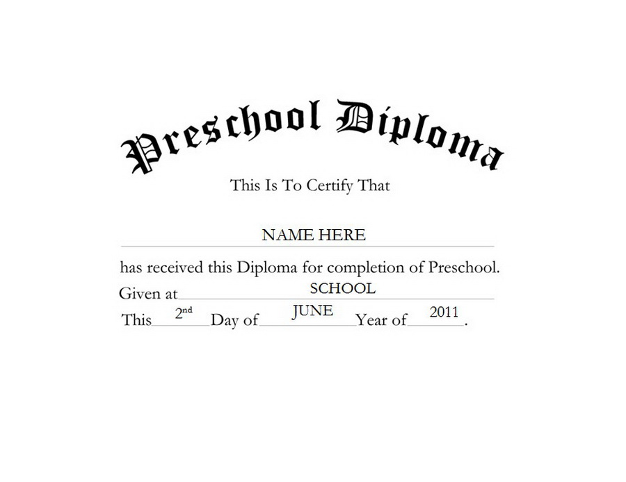 Preschool Diploma Clip Art Wording