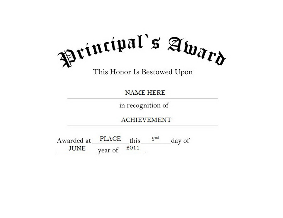 Free templates clip art suggested wording geographics for Principals list certificate template